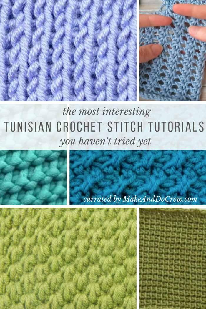 20+ Unique Tunisian Crochet Stitches - with step-by-step video tutorials! #tunisiancrochet
