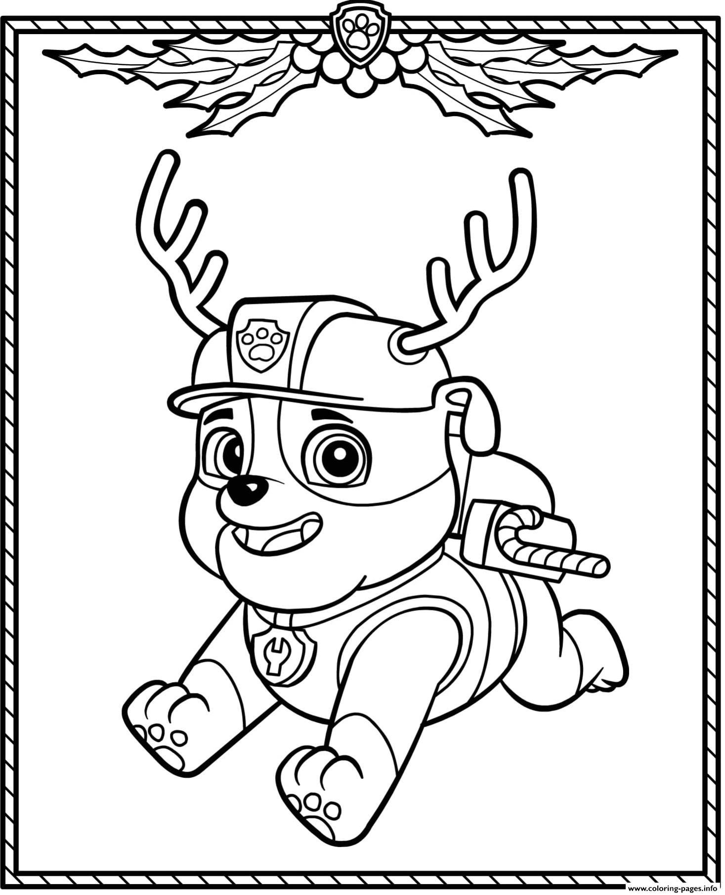 Print Paw Patrol Holiday Christmas Rubble Coloring Pages Paw Patrol Christmas Paw Patrol Coloring Paw Patrol Coloring Pages