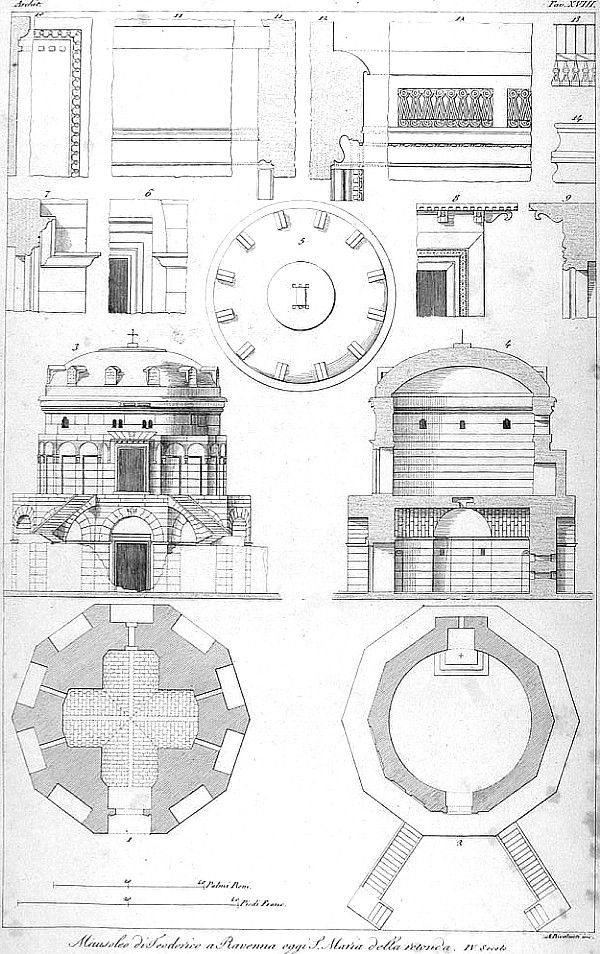 Byzantine Architecture Drawing Of The Tomb Of King Theodoric C