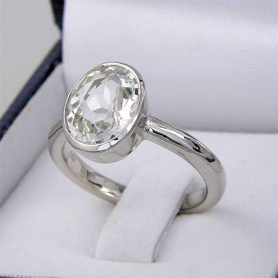 Herkimer Diamond Quartz Ring 10mm x 8mm Oval by HerkimerDiamond