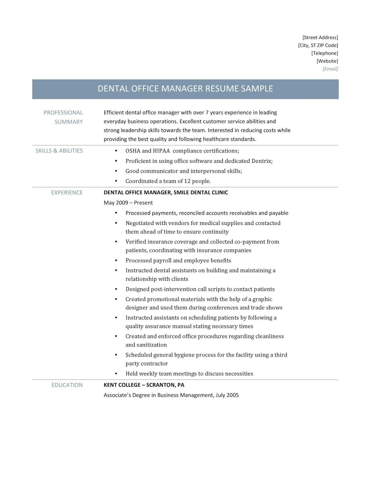 Dental Office Manager Resume Samples By Online Resume