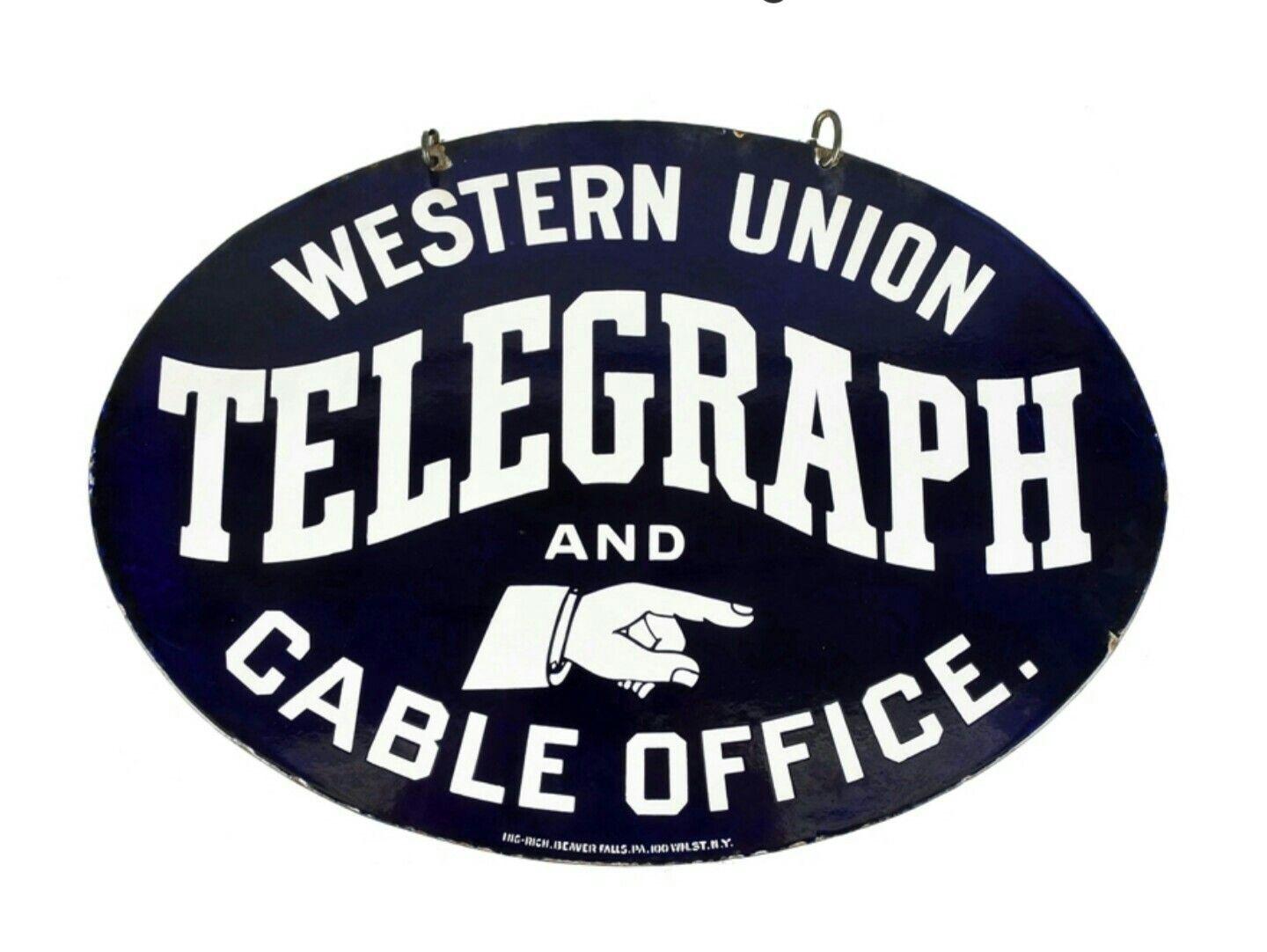 Telegraphic Sch Example | Rare Original Western Union Telegraph And Cable Office Porcelain