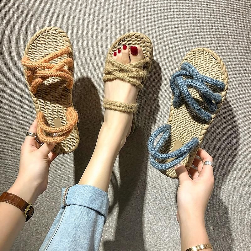 New Straw Hemp Rope Sandals Rope Sandals Sandal Fashion Crochet Shoes