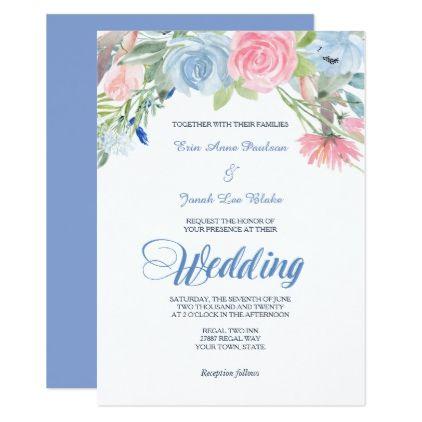 watercolor blue pink floral wedding invitation pinterest floral