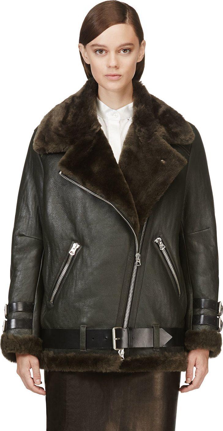 Acne Studios Olive Shearling Velocite Biker Jacket