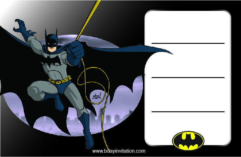 FREE Printable Batman Birthday Invitation Template