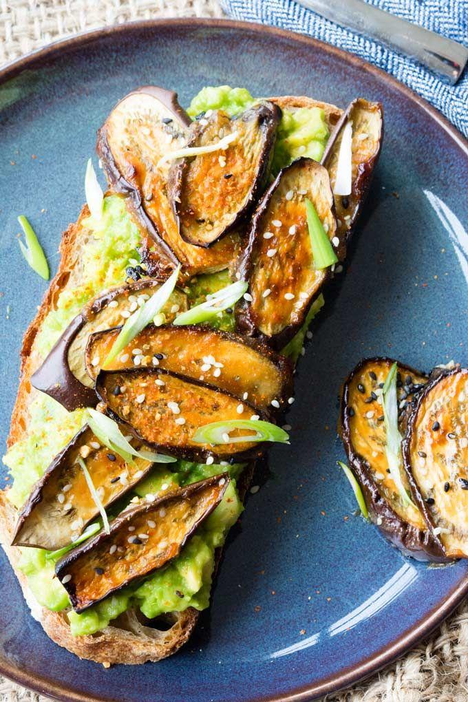 Maple And Miso Glazed Eggplant On Avocado Toast