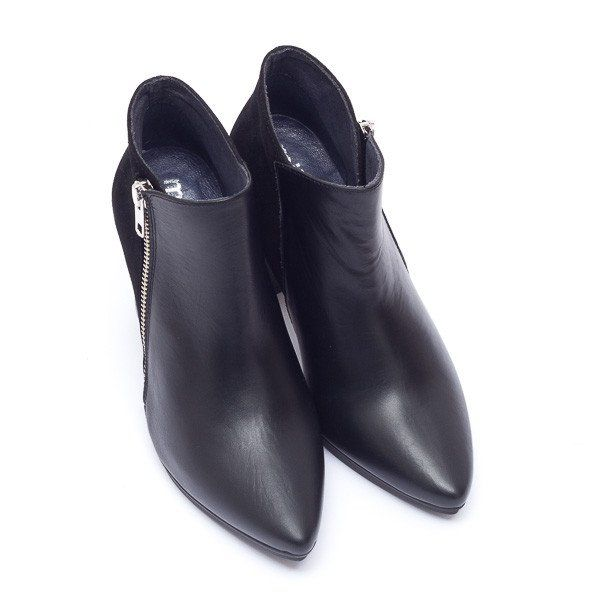 59bbaf247 Botin cremallera negro tacón piel cuero ante -High Heel zip Up Ankle Boot  leather suede – miMaO Black Night- Fashion Comfort