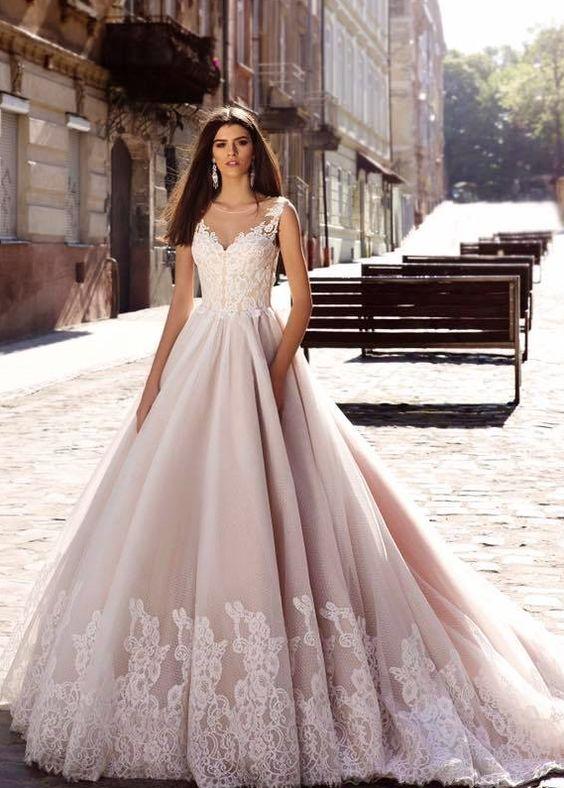 a536c7e50198 Sleeveless Floral Lace Embroidered Ballgown Wedding Dress   Wedding ...