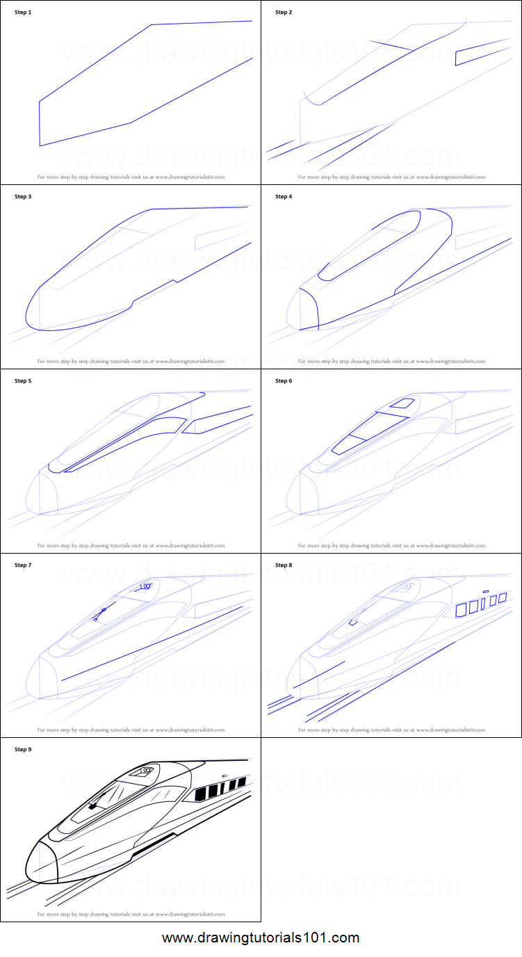 How To Draw A High Speed Electric Train Printable Step By Step Drawing Sheet Drawingtutorials101 Com Drawing Sheet Train Drawing Train Coloring Pages