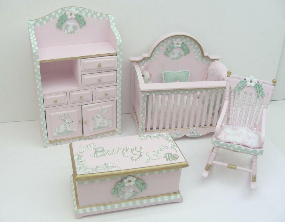 Dollhouse Miniature Nursery Hand Painted 4pc Crib
