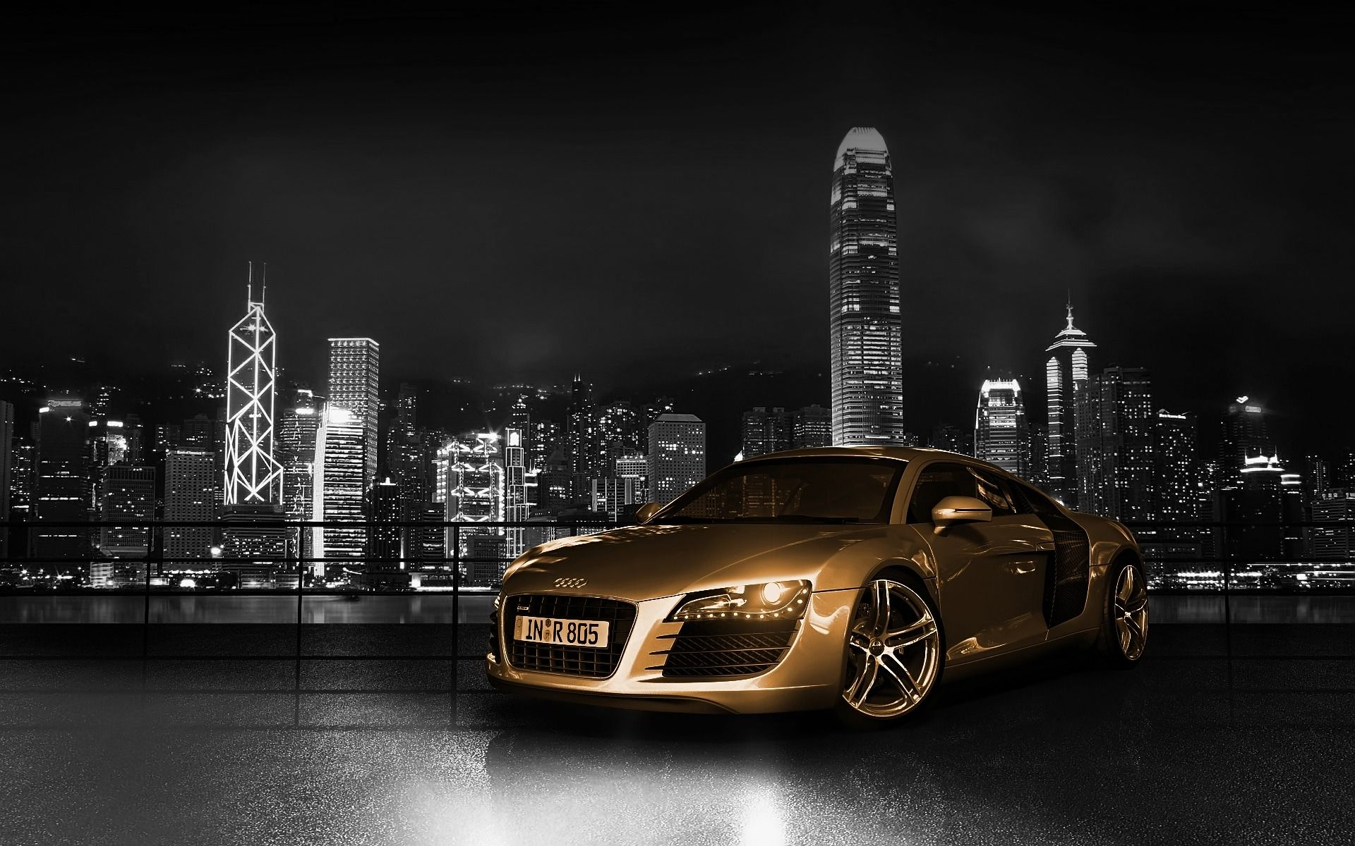 city night and golden car http://www.wallpaperback/city/city