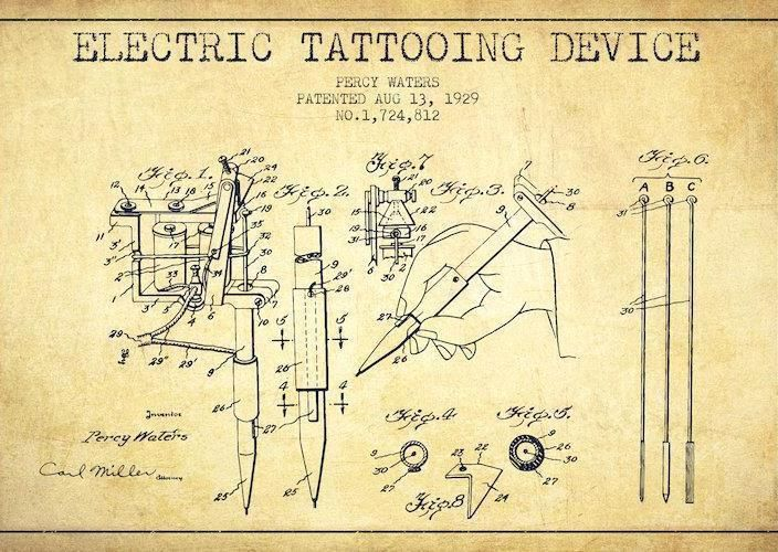 Official Tattoo Machine US Patent Art 8X10 Print Percy Waters - copy coffee grinder blueprint