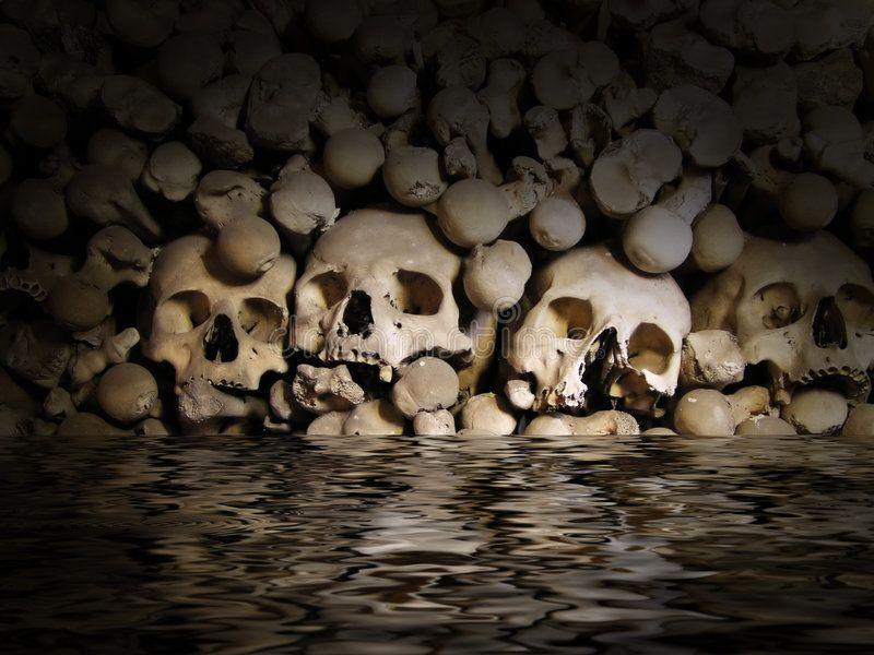 Skulls And Bones From Charnel House In The Water Sponsored Bones Skulls Charnel Water House Ad Skull And Bones Skull Bone Stock