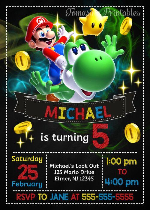 Super Mario Birthday Invitation, Mario Invite, Super Mario ...