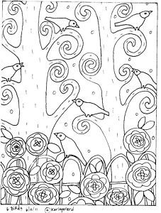 birds in tree - rug hook pattern. Could be an embroidery pattern.