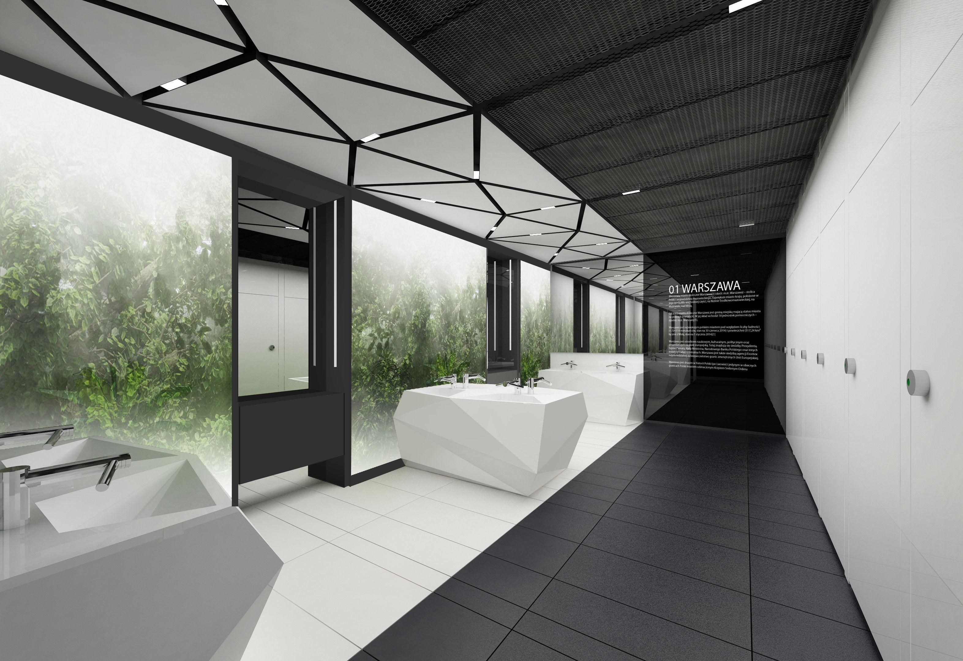 Design of the interior for public toilets and corridors in SC Złote