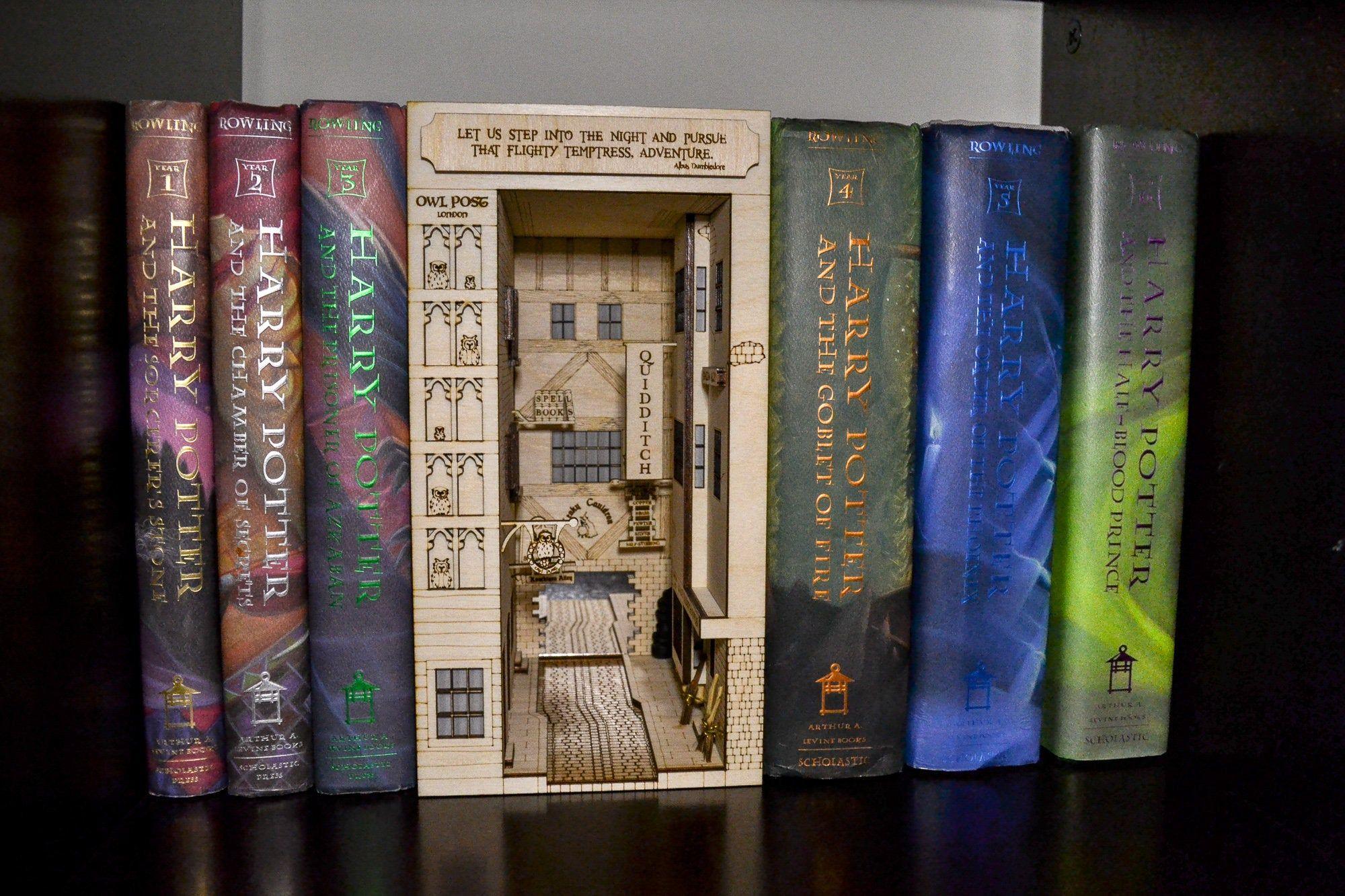 Harry Potter Diagon Alley Inspired Bookshelf Art Diy Kit Etsy Bookshelf Art Book Nooks Harry Potter Diagon Alley