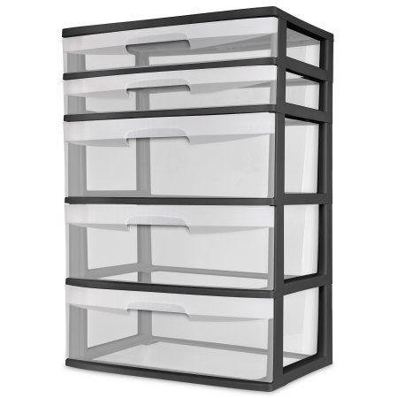 sterilite 5 drawer tower Sterilite, 5 Drawer Wide Tower | Drawers, Walmart and Dorm room sterilite 5 drawer tower