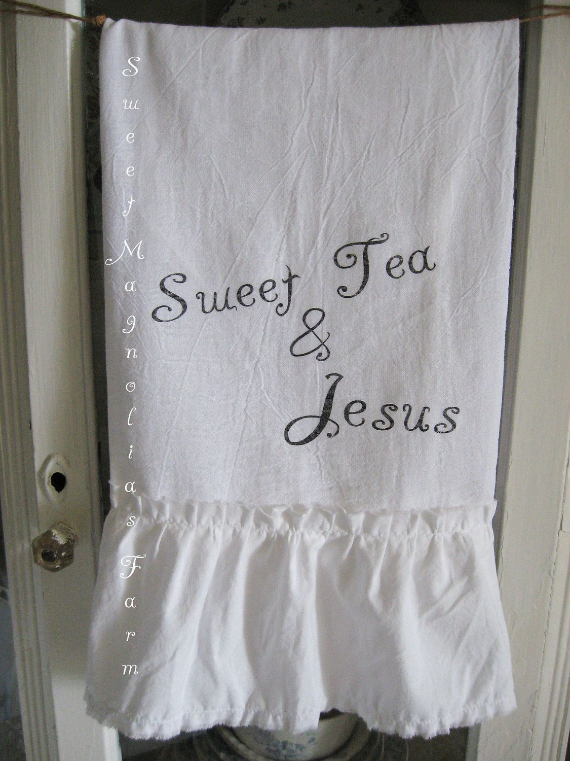"Flour Sack Kitchen Towel .""Sweet Tea & Jesus"" Southern Inspirational Charm...for your Home, Farmhouse or Cottage. $14.50, via Etsy."