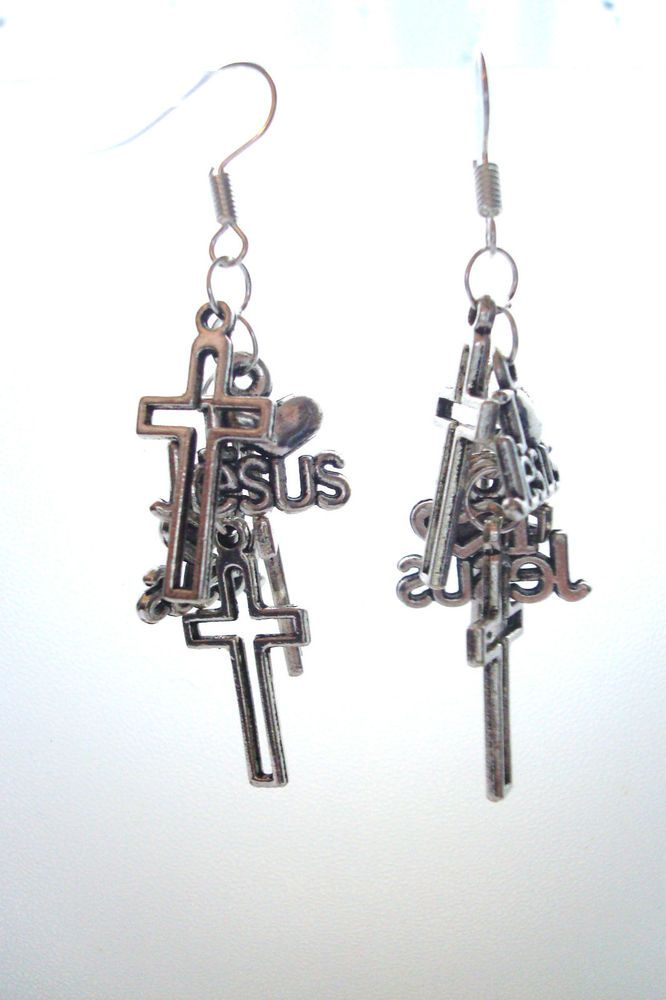 BNWOT Silver Tone I Love Jesus Crosses Cluster Dangle Drop Earrings found at outofthefireuk on ebay.co.uk