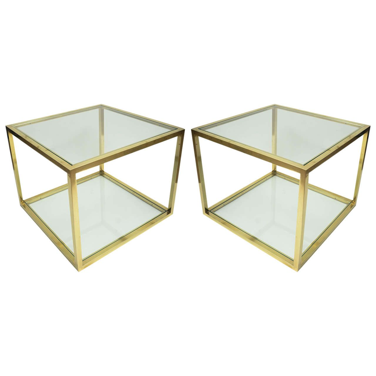 Pair Of TwoTier Brass And Glass Side Tables Glass Side Tables - Two tier glass side table