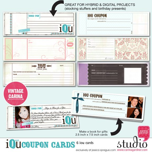 IOU Coupon Cards! A fun idea for hybrid projects, gifts or an - coupon layouts
