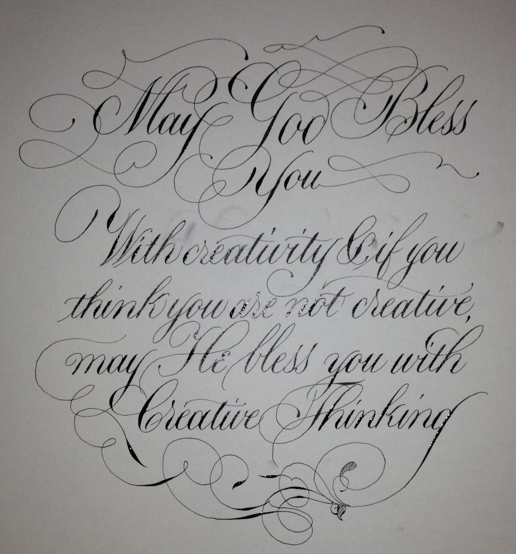 Blessing For Today Flourished Copperplate With Some 19th Century American Flourishing Thrown In