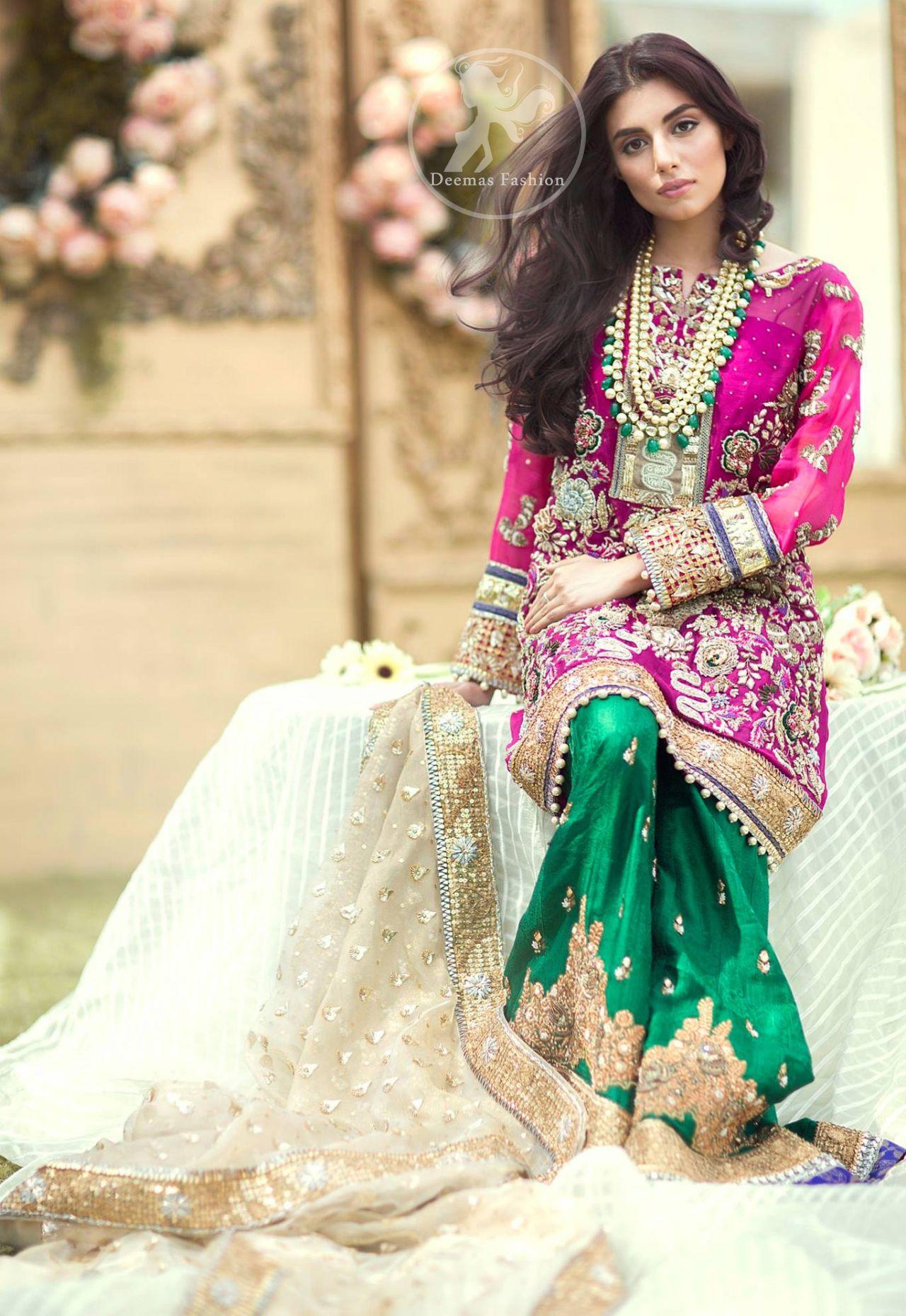 Mehndi Dresses 2017 , Shocking Pink Shirt , Bottle Green
