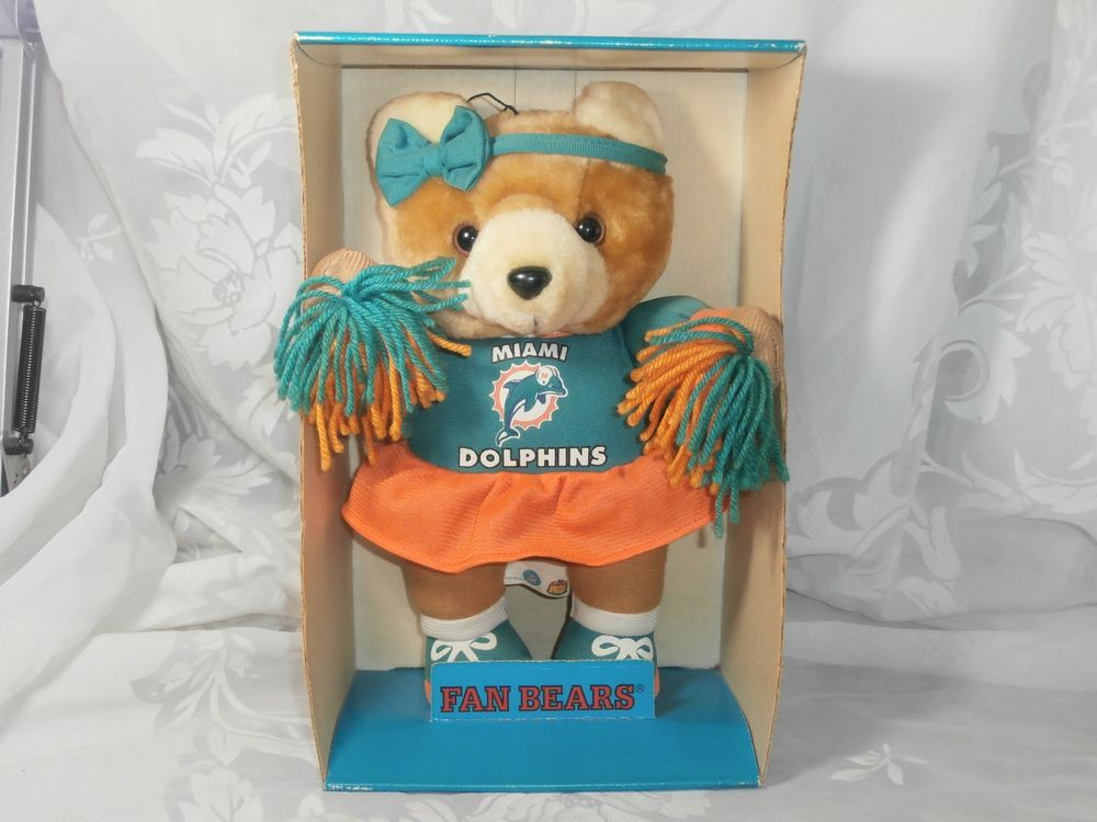 Miami Dolphins Cheerleader Plush Teddy Fan Bear Stuffed Animal 1998