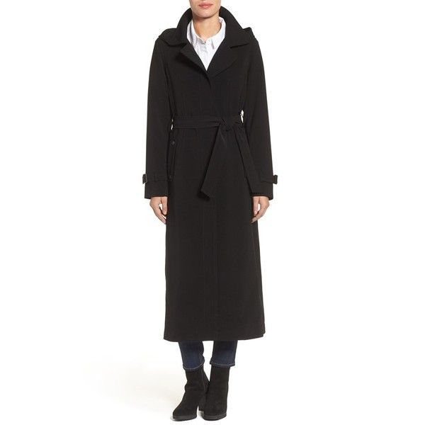 Petite Women's Gallery Belted Long Nepage Raincoat With Detachable ...