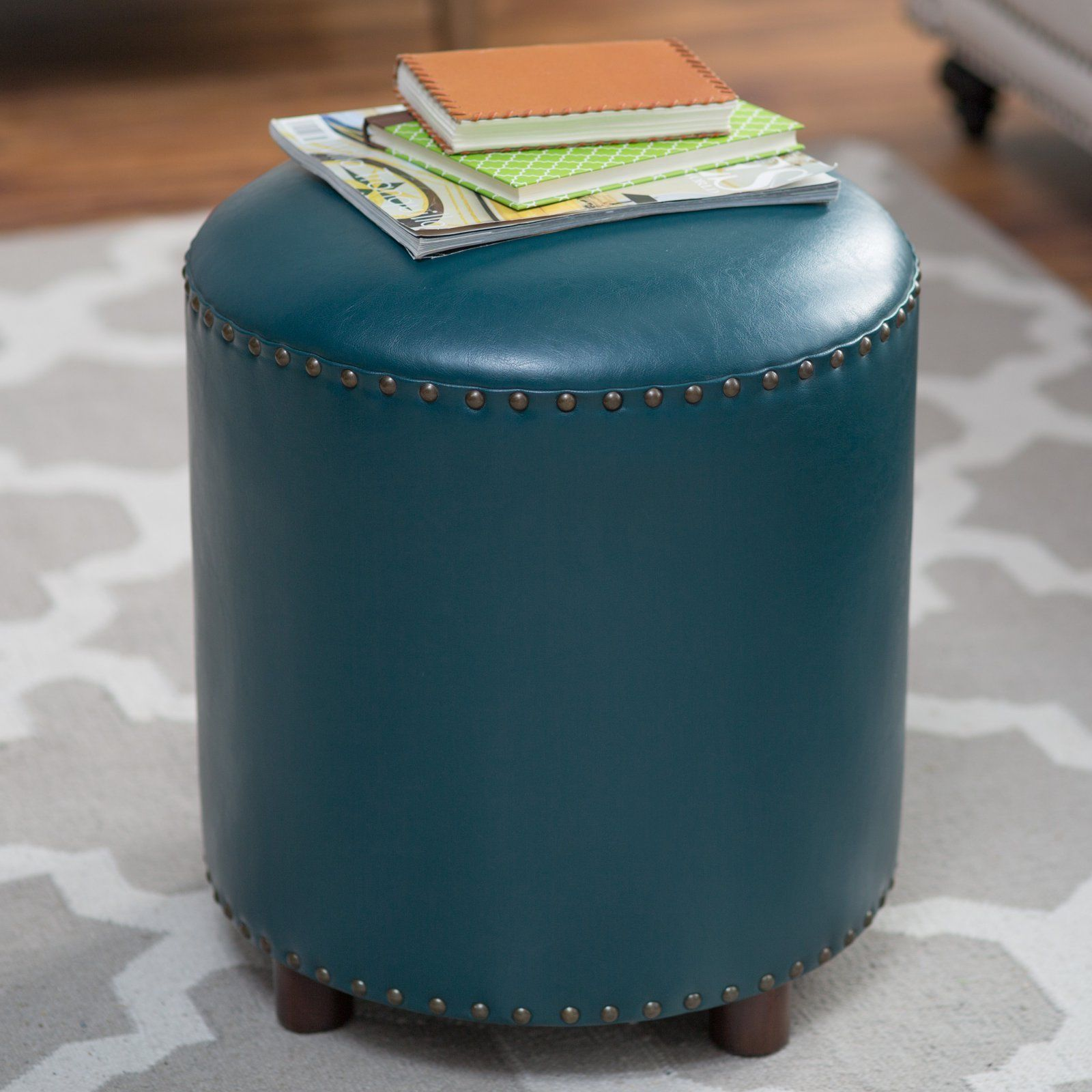 Leather Ottoman Round Hassock Footstool With Nailhead Studs Teal For Living Room Round Leather Ottoman Leather Ottoman Nailhead