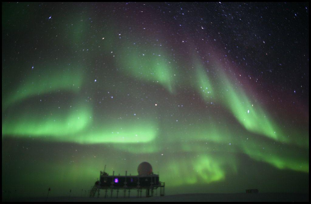 Summit Station, Greenland  Bright Lights Over Summit (by Ed.Stockard)