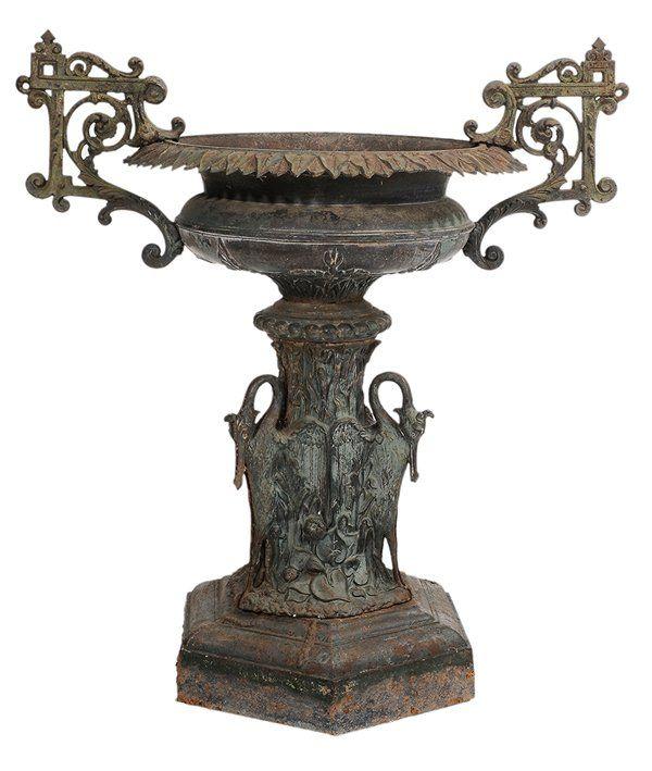 Victorian Cast Iron Planters | Victorian Painted Cast Iron Planter : Lot 280