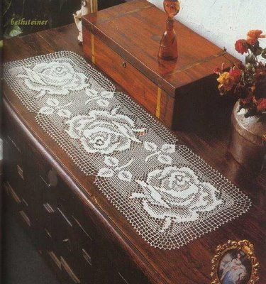 Free Filet Crochet Table Runner Diagram Chart Pattern Plus Many