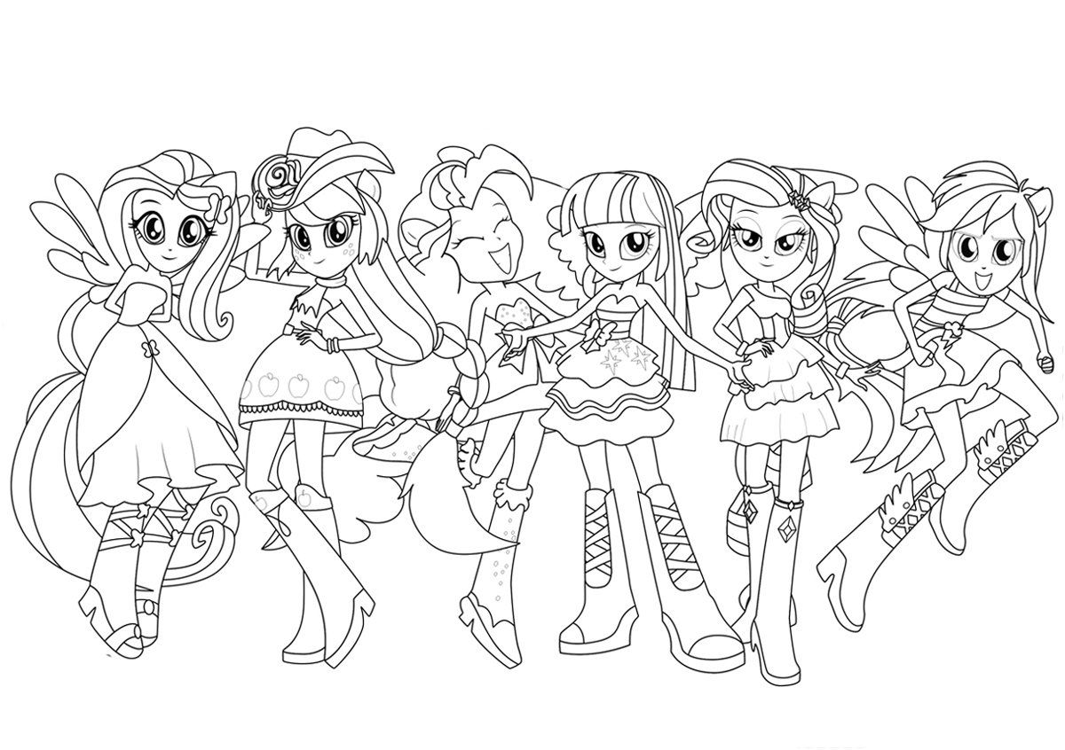 Equestria Girl Coloring Page My Little Pony Coloring Cute