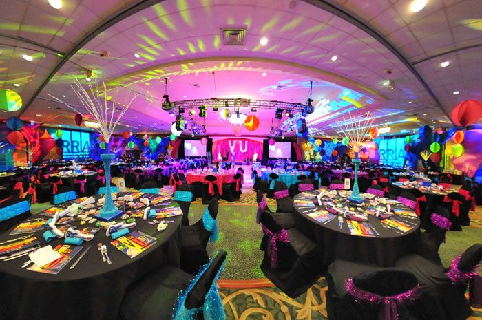 Nice 80s Theme Party Decoration Ideas Part - 7: Colorful Lighting, Suspended Spandex Decor, And Illuminated Centerpieces  Transformed The Ballroom Into A Retro · 80s Party DecorationsBirthday ...