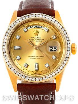 Rolex President Vintage 18k Yellow Gold Diamond Watch 6611