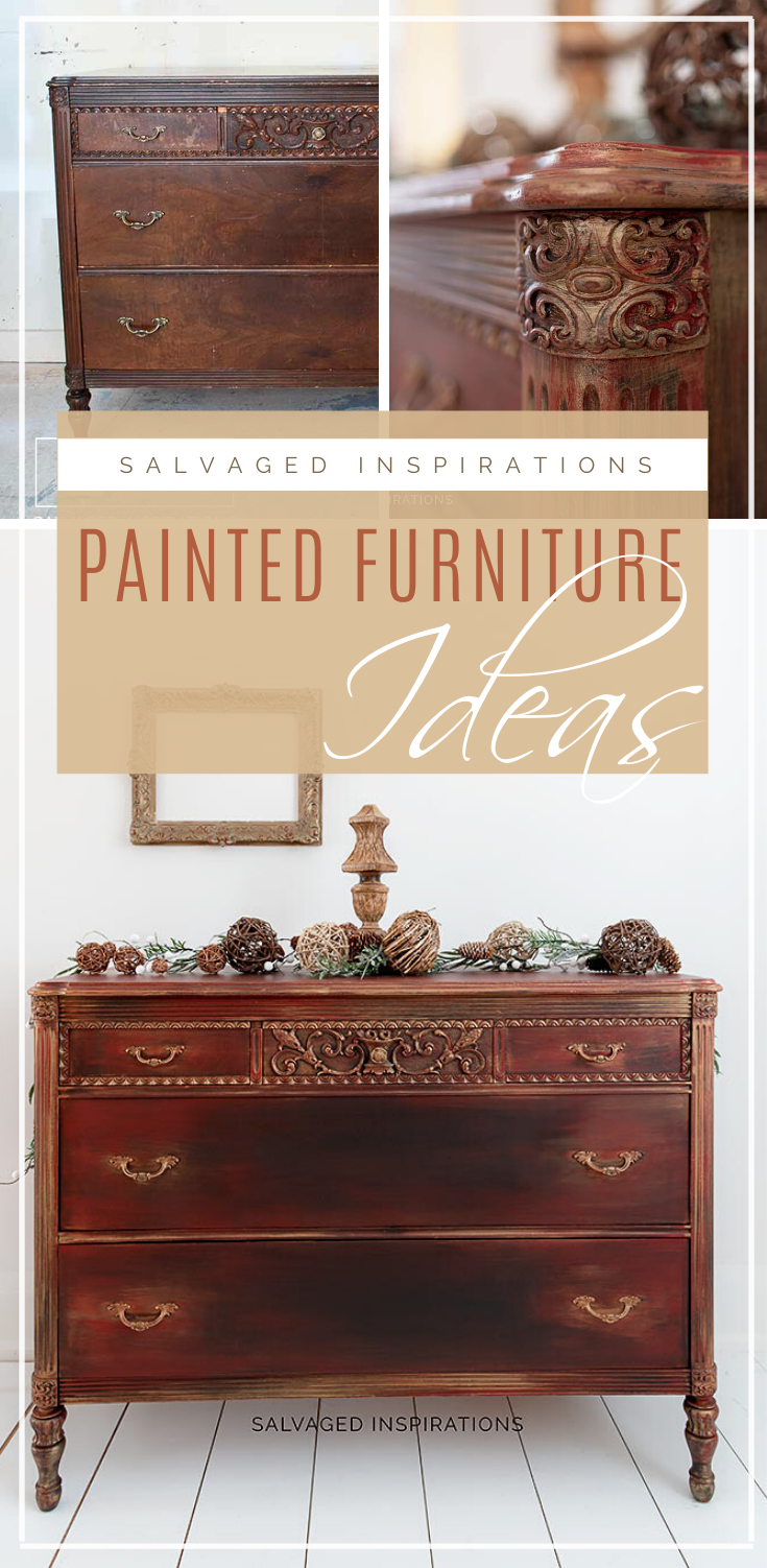 Painted Furniture Ideas| Layered Technique Dresser Makeover | Salvaged Inspirations  #siblog #salvagedinspirations #paintedfurniture #furniturepainting #DIYfurniture #furniturepaintingtutorials #howto #furnitureartist #furnitureflip #salvagedfurniture #furnituremakeover #beforeandafterfurnuture #paintedfurnituredieas #paintedfurniture #painteddresserideas #dixiebellepaint