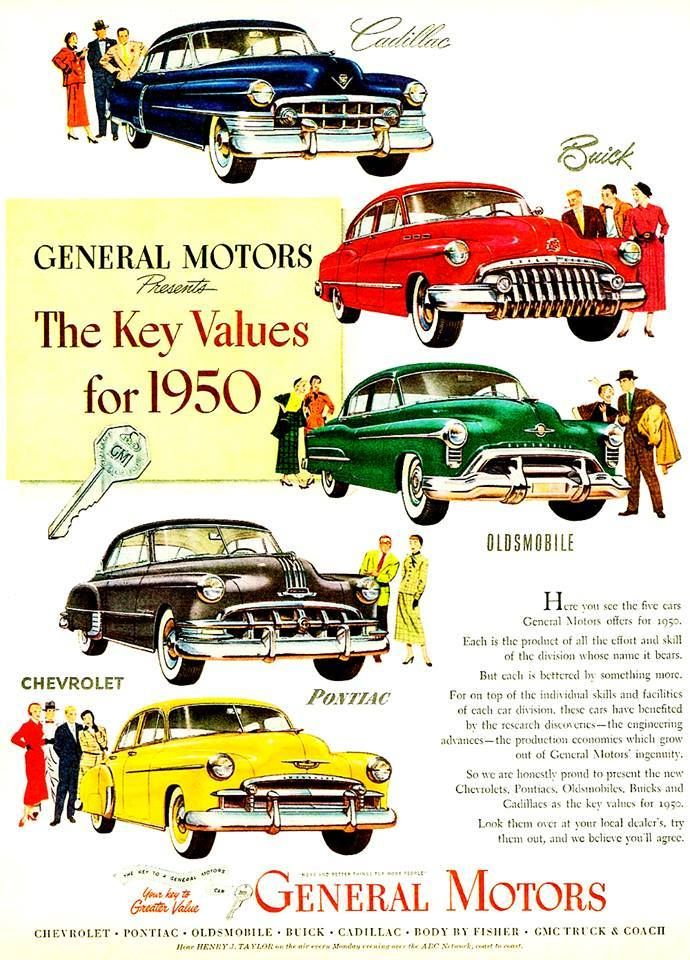 1950 Automobiles From General Motors Car Advertising Car Print