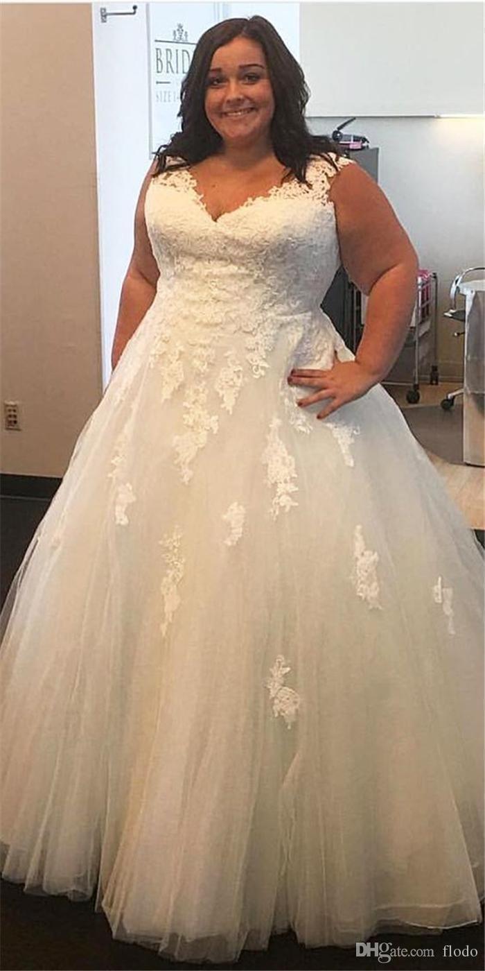 Plus size white ivory lace appliques wedding dress ball gown bridal