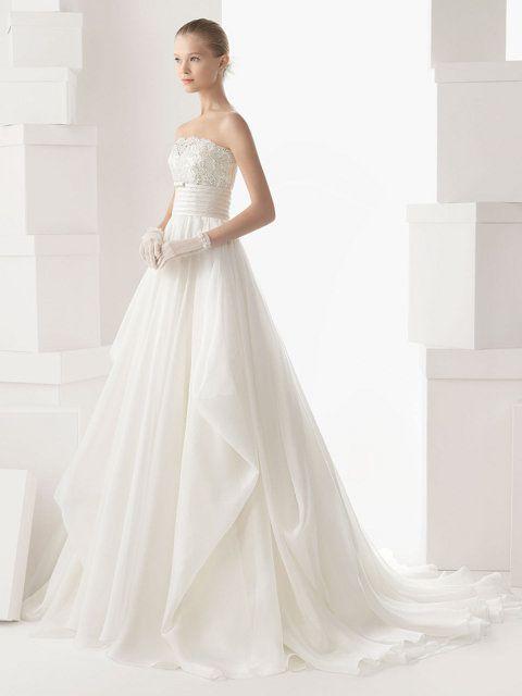 vestido de novia en guipur y organza de seda, strapless palabra de