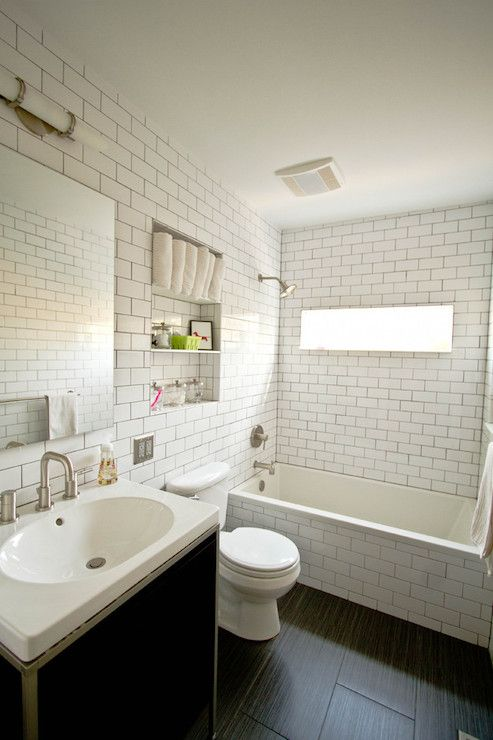 Bathroom Subway Tile Dark Grout fitzgerald construction - bathrooms - wood tiles, subway tiles
