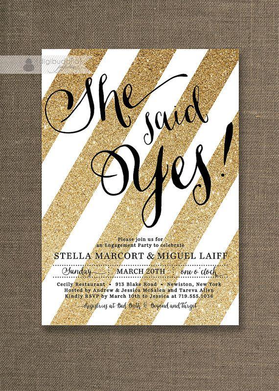 Gold Glitter Engagement Invitation Black White Script She Said Yes