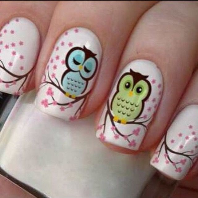 Cute Owl nail design ! | decorative nails | Pinterest | Diseños de ...