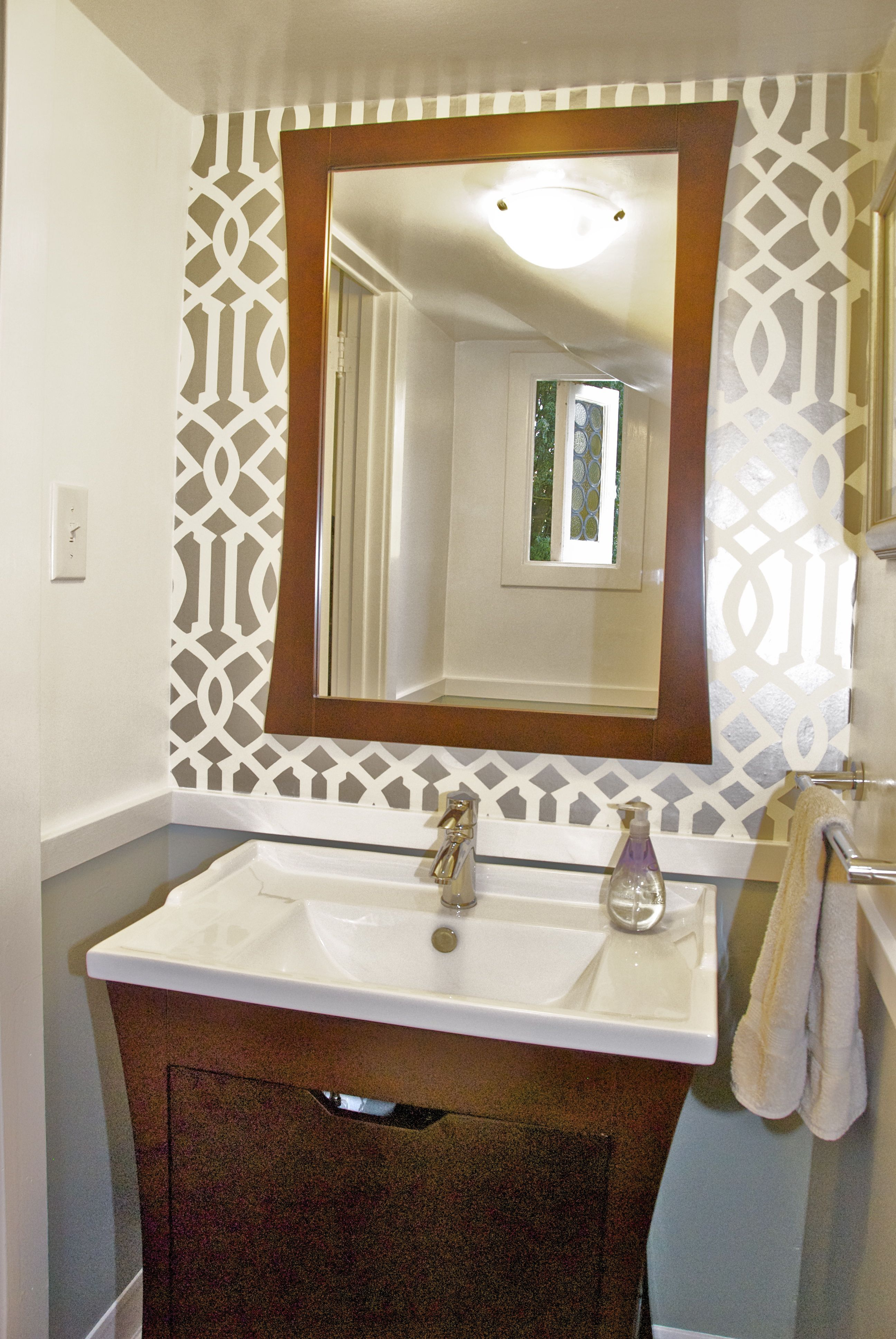 stencil for powder room- doesn't have to be the whole room- it