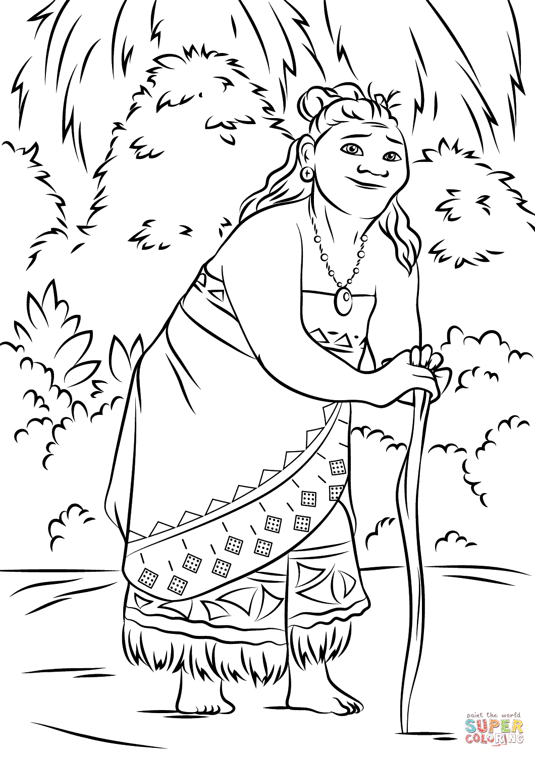 Gramma Tala from Moana Super Coloring Birthday party