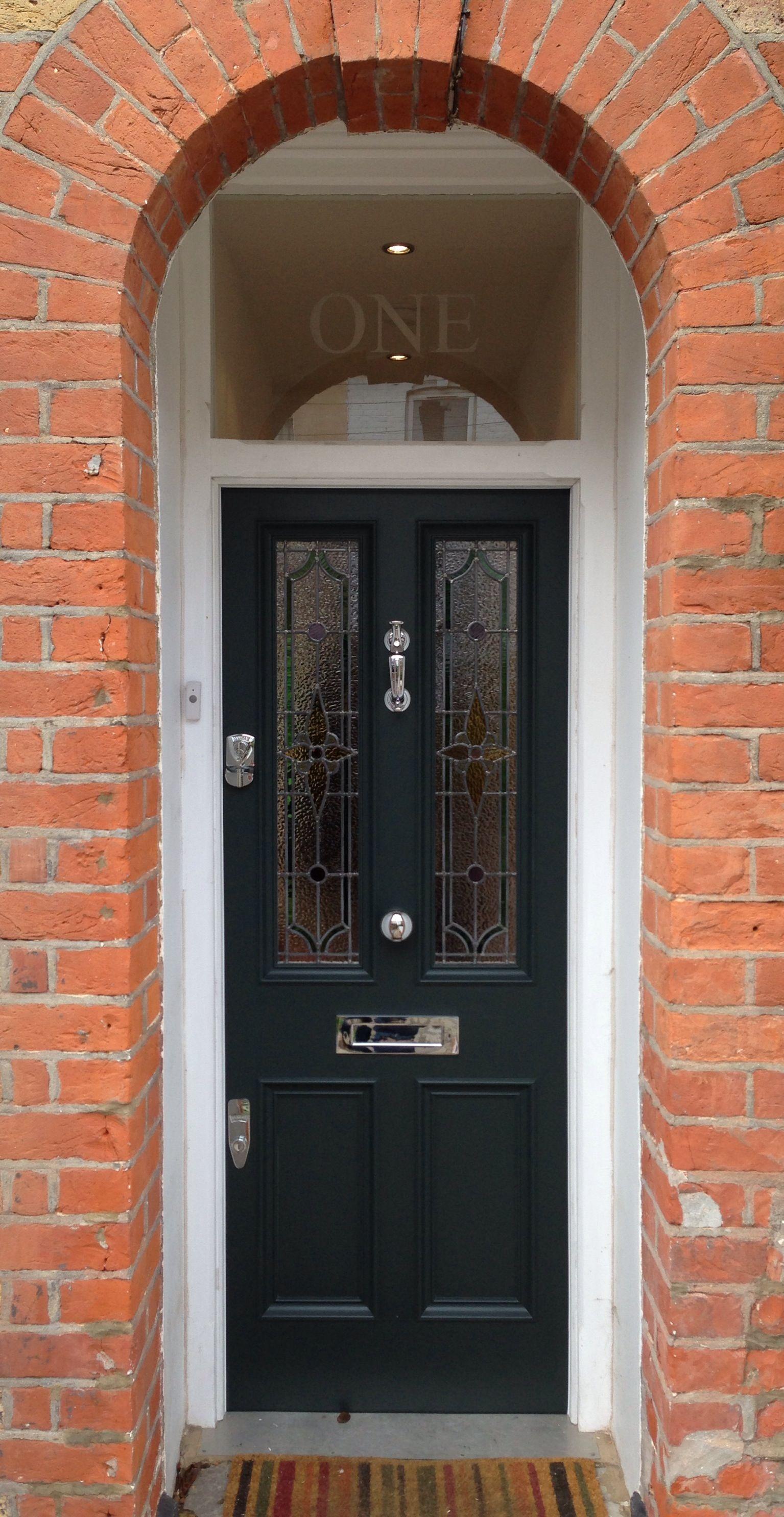 Superb Black Exterior Door 8 Black Front Door Home Depot: A Pleasant Victorian Front Door With Leaded Light In