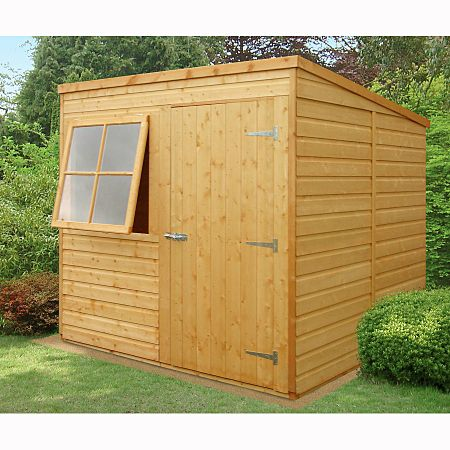The Spacious 10x6 Pent Pressure Treated Overlap Shed Features A Sloping Pent Style Roof To Allow Generous Head Room Insid Wooden Sheds Shed Garden Storage Shed
