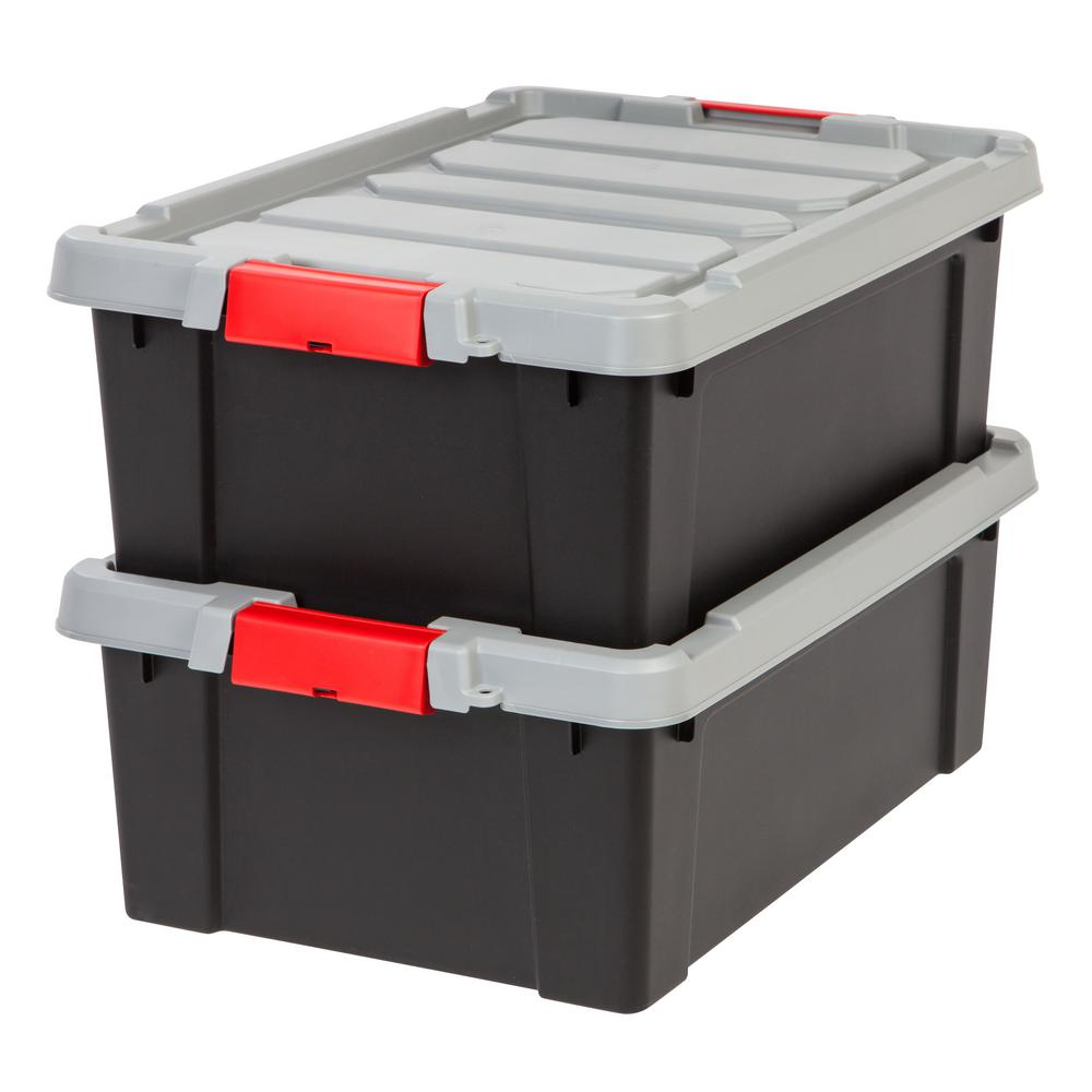 Iris 10 Gal Store It All Storage Bin In Black 2 Pack 586520 Plastic Storage Bins Plastic Storage Totes